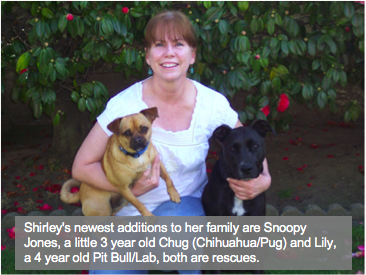 Shirley with Snoopy Jones and Lily